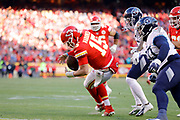 Kansas City Chiefs quarterback Patrick Mahomes (15) regains control of the ball as he scrambles for a touchdown during an NFL, AFC Championship football game Sunday, Jan. 19, 2020, in Kansas City, MO. The Chiefs won 35-24 to advance to Super Bowl 54. (AP Photo/Colin E. Braley) Colin Eric Braley Photography