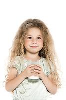 caucasian little girl portrait with milk mustache isolated studio on white background