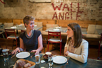 """NEW YORK, NY – JANUARY 5, 2014: Actors Cynthia Nixon of Sex and the City fame, left, and Allison Williams from HBOs """"Girls"""" have breakfast at Il Buco Alimentari Restaurant in Manhattan.<br /> <br /> Photo by Robert Caplin"""