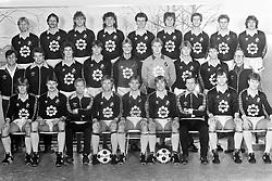 March 10, 1984 - Stockholm, SVERIGE - 840310 Fotboll, AIK: AIK:s trupp. Bakre raden fr.v: Kari Virtanen, Thomas Andersson, Anders Lissdaniels, ke Andersson, Per Wiklund, Lars Persson, Thomas Bergman, Anders Bylin och Ola ThÅ¡rnberg. Mittersta raden fr. v: Ulf SundlÅ¡f, naprapat, GÅ¡ran berg, ass. trÅnare, Ove RŸbsamen, GÅ¡ran Karlsson, JÅ¡rgen Granath, Bernt Ljung, Lars Zetterlund, Thomas Johansson och Hans Lewerentz, lÅkare. FrÅmre raden fr. v: BjÅ¡rn Kindlund, Sven Dahlqvist, BjÅ¡rn Carlsson, lagledare, GÅ¡ran GÅ¡ransson, Lenny Asp, BjÅ¡rn Johansson, Rolf Zetterlund, trÅnare, Per Nilsson och Kjell Jonevret..©ÊBildbyrÅ'n - 6887 (Credit Image: © BildbyrN/Bildbyran via ZUMA Wire)