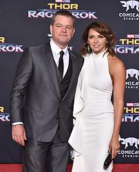 "World Premiere of ""Thor: Ragnarok"". El Capitan Theatre, Hollywood, California. EVENT October 10, 2017. 10 Oct 2017 Pictured: Matt Damon,Luciana Barroso. Photo credit: AXELLE/BAUER-GRIFFIN / MEGA TheMegaAgency.com +1 888 505 6342"
