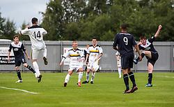 Falkirk's Conor McGrandles scoring their goal.<br /> Dumbarton 1 v 1 Falkirk, Scottish Championship 10/8/2013.<br /> ©Michael Schofield.