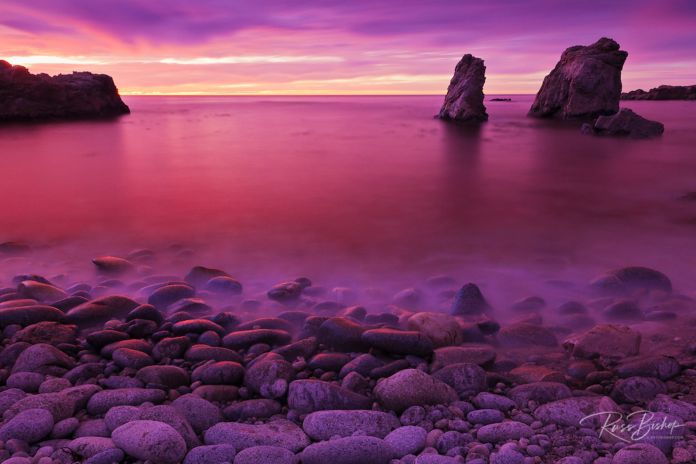 Sea stacks at dusk, Soberanes Point, Garrapata State Park, Big Sur, California