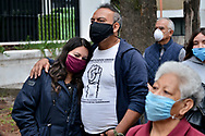 Persons wear protective masks while take part during a mass  in memory of the victims who lost their lives in the earthquake of 2017 at Tlalpan Multifamily amid coronavirus pandemic. (Photo by Carlos Tischler/Speed Media)