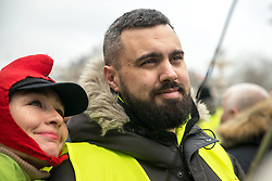 Éric Drouet at the act 12 of yellow vests protest in Paris, France, on February 02, 2019. Photo by Denis Prezat/Avenir Pictures/ABACAPRESS.COM