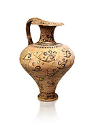 Minoan decorated jug with Marine style shell decoration, Zakros Palace  1500-1450 BC; Heraklion Archaeological  Museum, white background. .<br /> <br /> If you prefer to buy from our ALAMY PHOTO LIBRARY  Collection visit : https://www.alamy.com/portfolio/paul-williams-funkystock/minoan-art-artefacts.html . Type -   Heraklion   - into the LOWER SEARCH WITHIN GALLERY box. Refine search by adding background colour, place, museum etc<br /> <br /> Visit our MINOAN ART PHOTO COLLECTIONS for more photos to download  as wall art prints https://funkystock.photoshelter.com/gallery-collection/Ancient-Minoans-Art-Artefacts-Antiquities-Historic-Places-Pictures-Images-of/C0000ricT2SU_M9w