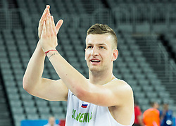 Alen Omic of Slovenia celebrates after winning during basketball match between Slovenia vs Netherlands at Day 4 in Group C of FIBA Europe Eurobasket 2015, on September 8, 2015, in Arena Zagreb, Croatia. Photo by Vid Ponikvar / Sportida