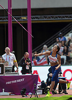 Athletics - 2017 IAAF London World Athletics Championships - Day Three, Morning Session<br /> <br /> Heptathlon Women - Javelin Throw<br /> <br /> Katarina Johnson-Thompson (Great Britain) launches the javelin at the London Stadium<br /> <br /> <br /> COLORSPORT/DANIEL BEARHAM