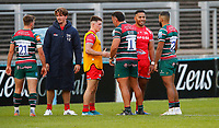 Rugby Union - 2019 / 2020 Gallagher Premiership - Leicester Tigers vs Sale Sharks<br /> <br /> Manu Tuilagi of Sale Sharks with former teammates at Welford Road.<br /> <br /> COLORSPORT/LYNNE CAMERON