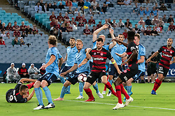 December 15, 2018 - Sydney, NSW, U.S. - SYDNEY, NSW - DECEMBER 15: Sydney FC midfielder Siem de Jong (22) and Western Sydney Wanderers defender Brendan Hamill (5) battle for the ball at the Hyundai A-League Round 8 soccer match between Western Sydney Wanderers FC and Sydney FC at ANZ Stadium in NSW, Australia on December 15, 2018. (Photo by Speed Media/Icon Sportswire) (Credit Image: © Speed Media/Icon SMI via ZUMA Press)