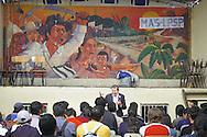 """Bolivia. Cochabamba. Rene Santander, secretary of union """" Federazione cocalera del Tropico"""" , Rene Santander ,during an assembly into the Union's salon at Cochabamba.."""