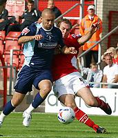 Photo: Dave Linney.<br />Wrexham v Swindon Town. Coca Cola League 2. 09/09/2006Swindon's .Christian Roberts (R) powers past Wrexham's  Shaun Pejic