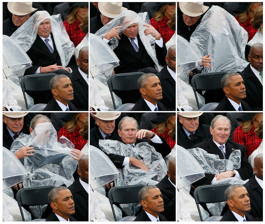 This sequence of pictures shows former U.S. President George W. Bush using a plastic sheet to deal with the rain near outgoing President Barack Obama (L) during the inauguration ceremonies swearing in Donald Trump as the 45th president of the United States on the West front of the U.S. Capitol in Washington, U.S., January 20, 2017. REUTERS/Rick Wilking     TPX IMAGES OF THE DAY - RTSWLQW