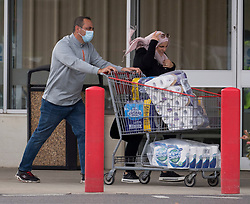 © Licensed to London News Pictures. 25/09/2020. London, UK. Members of the public are seen buying supplies from COSTCO in Hayes west London, as signs of panic buying emerge following the threat of further lockdown measures across the capital. Photo credit: Ben Cawthra/LNP