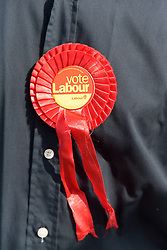 Rosette belonging to a canvasser for Labour votes in the run up to the 2005 general election,