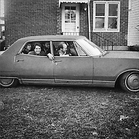 """The Lead Sled in front of the Athens, Ohio """"THOL"""" with Grover Sanschagrin, Stan KOKOTAJLO, Dave Denoma and Tony Thomas, 1988."""