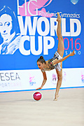 """Bektas Selen during ball routine at the International Tournament of rhythmic gymnastics """"Città di Pesaro"""", 02 April, 2016. Selen is a Turkish  individualistic gymnast, born on January 15, 2001 in Çankaya.<br /> This tournament dedicated to the youngest athletes is at the same time of the World Cup."""