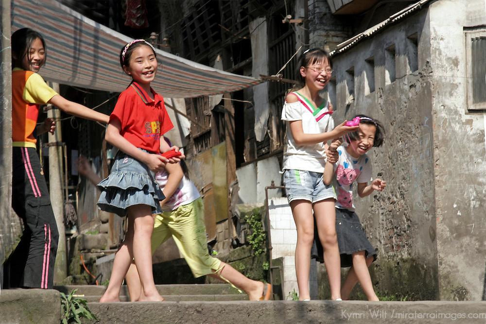 Asia, China, Chongqing. Young Chinese girls in Chongqing, China.
