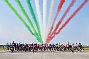 Foto Massimo Paolone/LaPresse <br /> 18 ottobre 2020 Italia<br /> Sport Ciclismo<br /> Giro d'Italia 2020 - edizione 103 - Tappa 15 - Da Base aerea Rivolto a Piancavallo (km 185)<br /> Nella foto: Spettacolo acrobatico Frecce Tricolore prima della partenza <br /> <br /> Photo Massimo Paolone/LaPresse<br /> October 18, 2020  Italy  <br /> Sport Cycling<br /> Giro d'Italia 2020 - 103th edition - Stage 15 - from Air base Rivolto to Piancavallo<br /> In the pic: airshow before the start