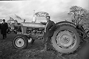 National Ploughing Championships at Tullow, Co. Carlow. James Murphy, Carlow, winner of the Supreme Award, with his Ford tractor..26.10.1967<br />