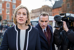 © Licensed to London News Pictures. 12/12/2018. London, UK. Former Home Secretary Amber Rudd MP (L) arrives on College Green to give interviews. Prime Minister Theresa May faces a vote of no confidence from her own party this evening. Photo credit: Rob Pinney/LNP