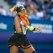 2019 US Open Tennis Tournament- Day Two.  Naomi Osaka of Japan in action against Anna Blinkova of Russia in the Women's Singles Round One match on Arthur Ashe Stadium at the 2019 US Open Tennis Tournament at the USTA Billie Jean King National Tennis Center on August 27th, 2019 in Flushing, Queens, New York City.  (Photo by Tim Clayton/Corbis via Getty Images)