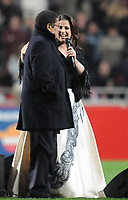20100125: LISBON, PORTUGAL - 7th Charity Football Match against Poverty: SL Benfica All Stars vs Zidane & Kaka Friends. All the money rose from ticket sales and donations will go to the victims of Haiti Earthquake. In picture: Fado singer Katia Guerreiro and Portuguese football legend Eusebio, who celebrated his 68 birthday. PHOTO: Alexandre Pona/CITYFILES