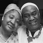 Black and white location portrait of Mr. and Mrs. Duam on their 30th anniversary.<br /> Photo made in Kensington Market, Toronto
