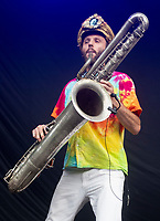 Mr Wilson's Second Liners AT 'LONDON'S FIRST FESTIVAL THIS SUMMER KALEIDOSCOPE TAKES PLACE AT ALEXANDRA PALACE,PHOTO BY BRIAN JORDAN