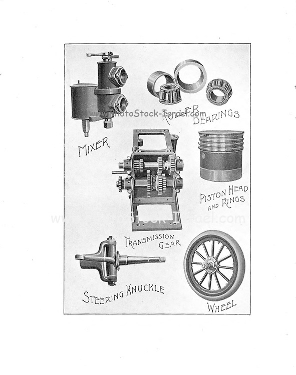 Automobile Parts From the E. R. Thomas Motor Co. Inc Advance Catalogue — Maker Of Automobiles and Auto-Bi Motorcycles — From Buffalo New York, USA, Printed 1903. E. R. Thomas Motor Company was a manufacturer of motorized bicycles, motorized tricycles, motorcycles, and automobiles in Buffalo, New York between 1900 and 1919