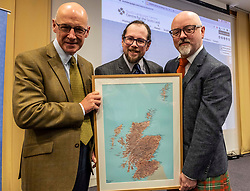 Pictured: John Swinney, Dr Michael Dempster, Director of Scots Language Center and Stewart Bremner, who helped develop the digital map.<br />