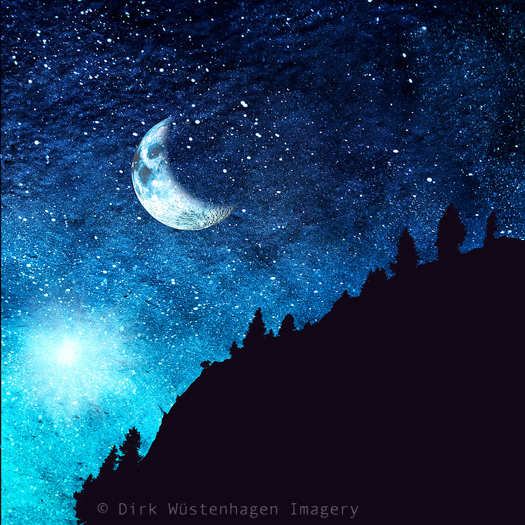 Half moon and starry night sky in the Alps - manipulated photograph<br /> Fineartamerica Prints: https://bit.ly/2wMvEdS<br /> Redbubble Products: https://rdbl.co/2ILRray
