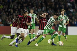 November 8, 2018 - Seville, Spain - SANABRIA of Betis (C) vies for the ball with DIEGO LAXALT of Milan (C)  during the Europa League Group F soccer match between Real Betis and AC Milan at the Benito Villamarin Stadium (Credit Image: © Daniel Gonzalez Acuna/ZUMA Wire)