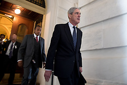 June 21, 2017  Washington, D.C., U.S. -  Former FBI Director ROBERT MUELLER (front), the special counsel probing Russian interference in the 2016 U.S. election, leaves the Capitol building after meeting with the Senate Judiciary Committee on Capitol Hill. (Credit Image: © Ting Shen/Xinhua via ZUMA Wire)