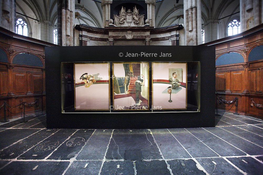 Nederlans. Amsterdam. 20 februari 2014.<br /> Presentatie van het beroemde In memory of George Dyer van kunstenaar Francis Bacon door Gijs van Tuyl in de Nieuwe Kerk.<br /> The famous triptych In memory of George Dyer by artist Francis Bacon in the Nieuwe Kerk in Amsterdam