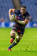 Viliame Mata (#8) of Edinburgh Rugby charges forward during the Guinness Pro 14 2019_20 match between Edinburgh Rugby and Connacht Rugby at BT Murrayfield Stadium, Edinburgh, Scotland on 21 February 2020.