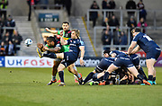 Harlequins centre Alofa Alofa stretches in an attempt to charge down a kick from Sale Sharks scrum-half Faf De Klerk during a Gallagher Premiership match at the AJ Bell Stadium, Eccles, Greater Manchester, United Kingdom, Friday, April 5, 2019. (Steve Flynn/Image of Sport)