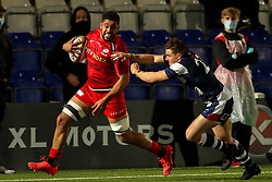 Andy Christie of Saracens is tackled by Will Owen of Coventry Rugby   - Mandatory by-line: Nick Browning/JMP - 26/02/2021 - RUGBY - Butts Park Arena - Coventry, England - Coventry Rugby v Saracens - Friendly