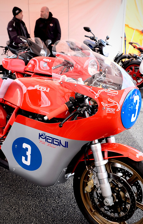 Motorcycle builder Magni from Italy displayed these beautiful examples of MV Agusta motorcycles.  The number 3 seen here is what is known as a retro design.  While this bike looks like an MV from the early 1970s, it is actually a 2019 model.