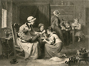 Cottage interior with, foreground, a boy being treated for an injured ankle. 19th century engraving.