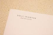 Dolly Irigoyen, famous chef and TV Presenter, her letter head paper. The Dolly Irigoyen - famous chef and TV presenter - private restaurant, Buenos Aires Argentina, South America Espacio Dolli