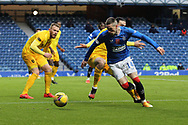 Ryan Kent (Rangers) slips past the Livingston defence during the Scottish Premiership match between Rangers and Livingston at Ibrox, Glasgow, Scotland on 25 October 2020.