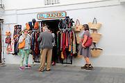 Craft shop selling baskets and leather bags, Vejer de la Frontera, Spain