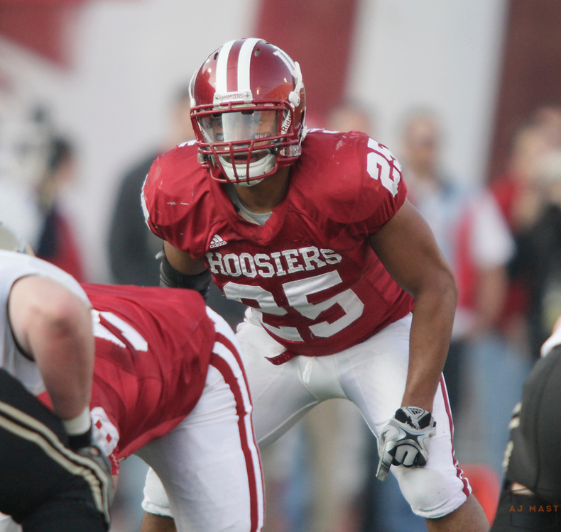 21 November 2009: Indiana linebacker Justin Carrington (25) as the Indiana Hoosiers played the Purdue Boilermakers in a college football game in Bloomington, Ind.