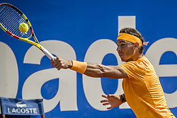 April 28, 2018 - Barcelona, Catalonia, Spain - RAFAEL NADAL (ESP) returns the ball to David Goffin (BEL) in their semi-final of the 'Barcelona Open Banc Sabadell' 2018. Nadal won 6:4, 6:0 (Credit Image: © Matthias Oesterle via ZUMA Wire)