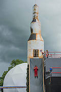 The Greenpeace area includes a rocket named there is no Planet B whichalso acts as a slide - The 2016 Glastonbury Festival, Worthy Farm, Glastonbury.