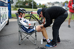 Cecilie Uttrup Ludwig gets a pre-race massage at the Crescent Vargarda - a 152 km road race, starting and finishing in Vargarda on August 13, 2017, in Vastra Gotaland, Sweden. (Photo by Sean Robinson/Velofocus.com)