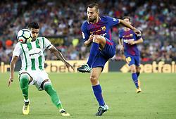 August 20, 2017 - Barcelona, Spain - Nahuel Leiva and Jordi Alba during La Liga match between F.C. Barcelona v Alaves, in Barcelona, on September 10, 2016. Photo: Edi Capmany/Urbanandsport/Nurphoto  (Credit Image: © Urbanandsport/NurPhoto via ZUMA Press)