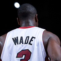 9 October 2008: Dwyane Wade of the Miami Heat is seen during the New Jersey Nets 100-98 overtime victory over the Miami Heat in an exhibition game at Bercy Arena, in Paris, France.