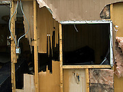close up of a wrecked mobile home
